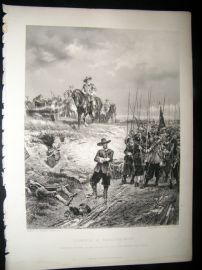 Military C1880 Steel Engraving, Oliver Cromwell at Marston Moor